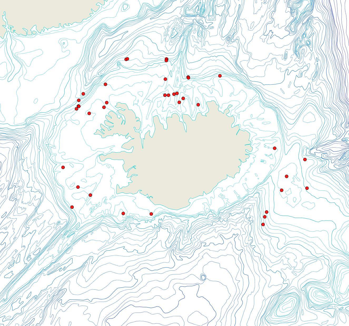 Útbreiðsla Diplosolen obelium(Bioice samples, red dots)
