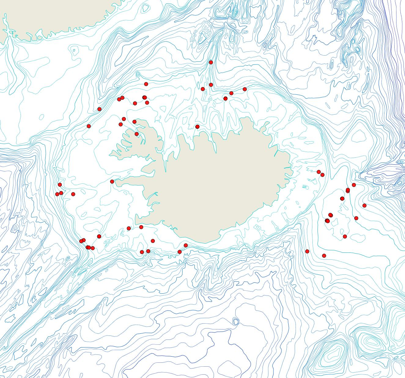 Útbreiðsla Disporella hispida(Bioice samples, red dots)