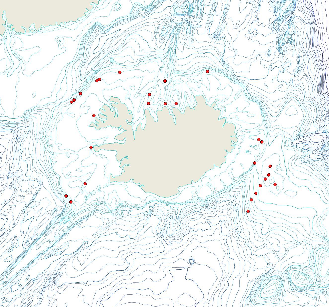 Útbreiðsla Escharella klugei(Bioice samples, red dots)