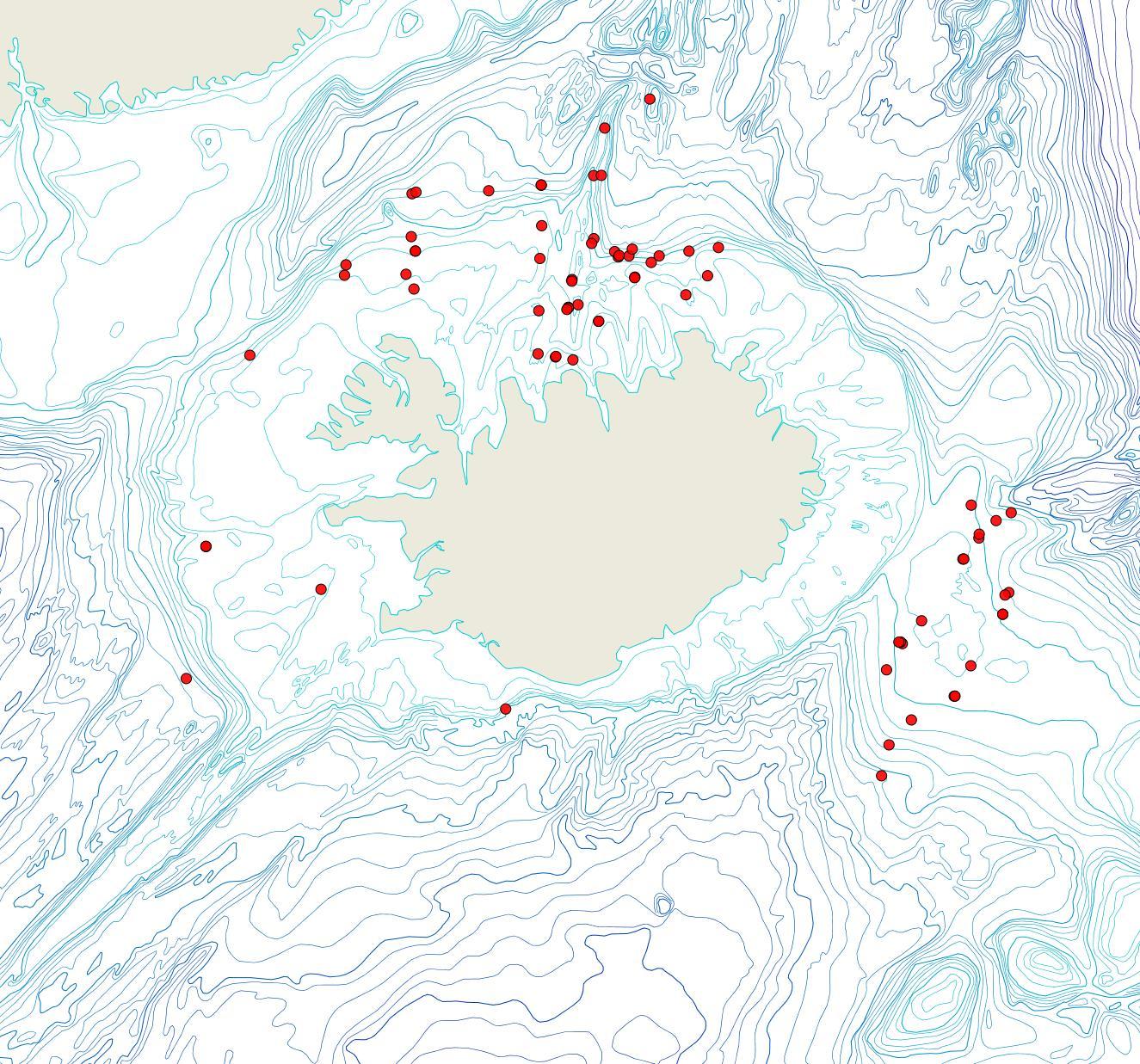 Útbreiðsla Escharella labiata(Bioice samples, red dots)