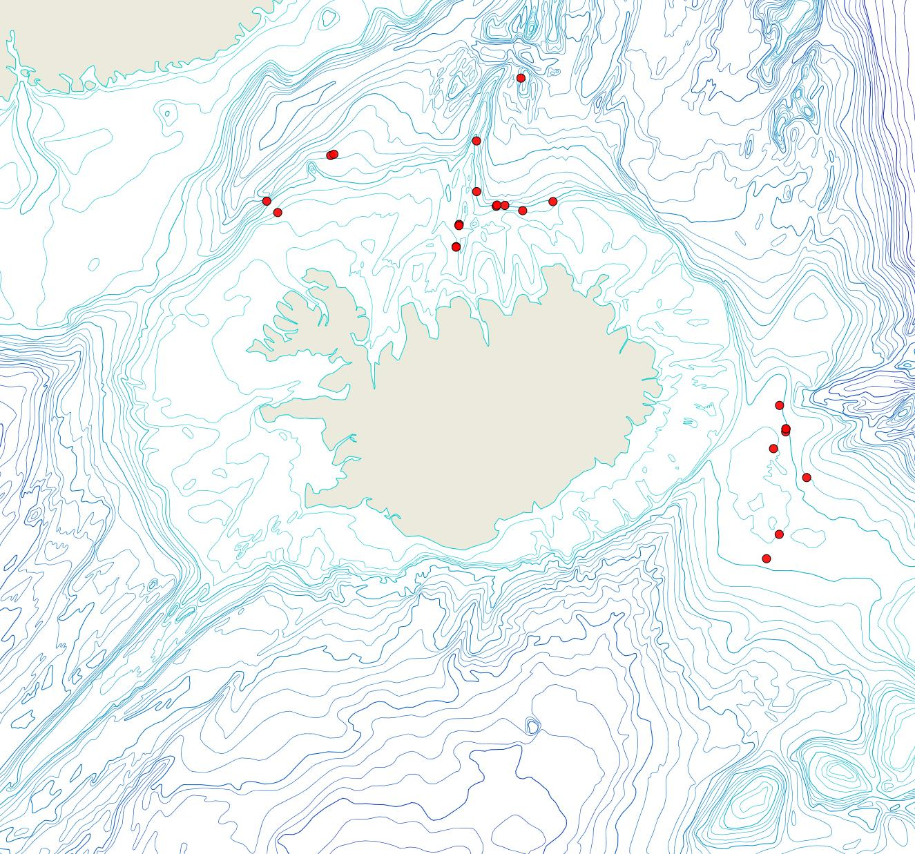 Útbreiðsla Hippomonavella borealis(Bioice samples, red dots)
