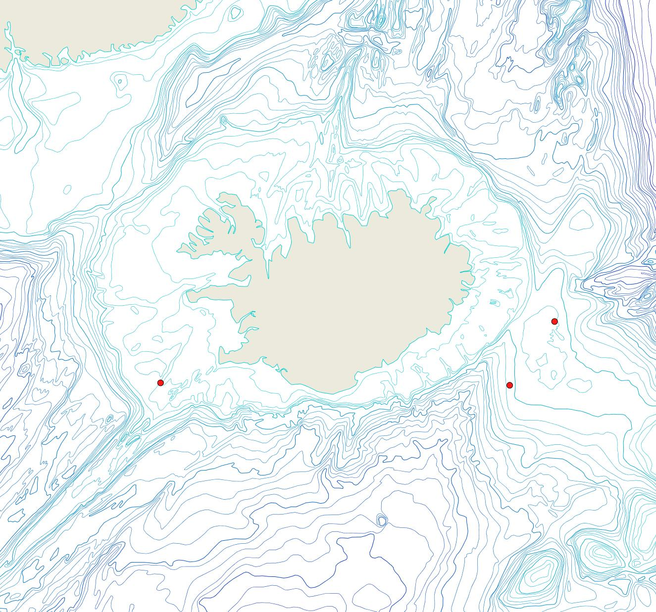 Útbreiðsla Leieschara subgracilis(Bioice samples, red dots)