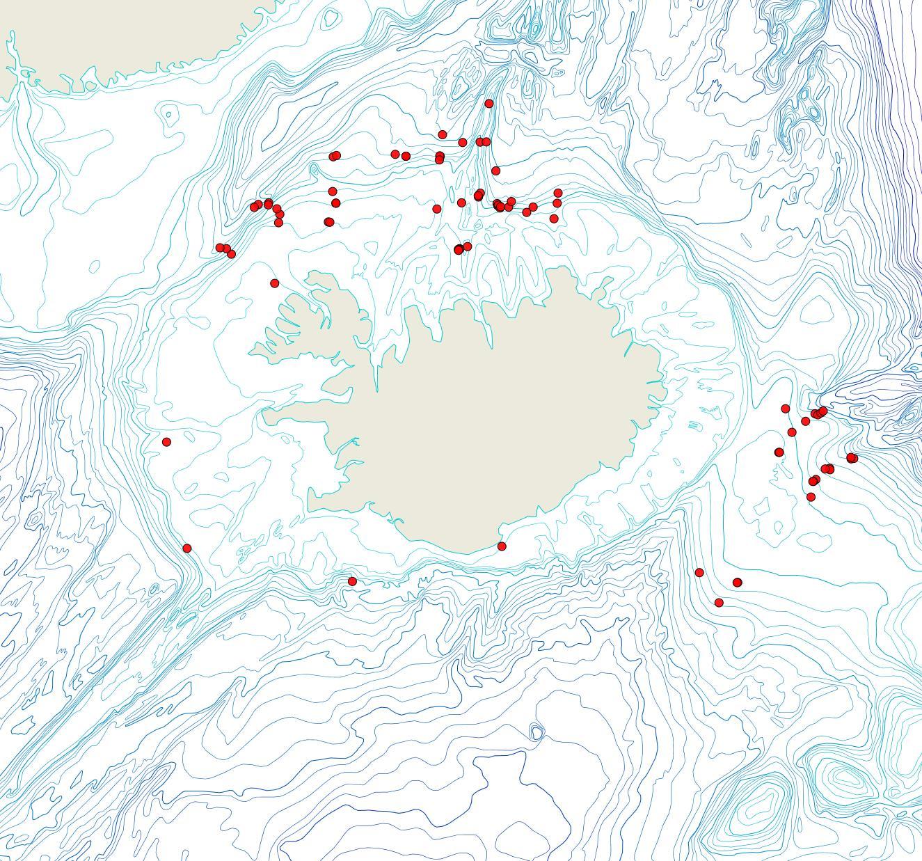 Útbreiðsla Notoplites evocatus(Bioice samples, red dots)