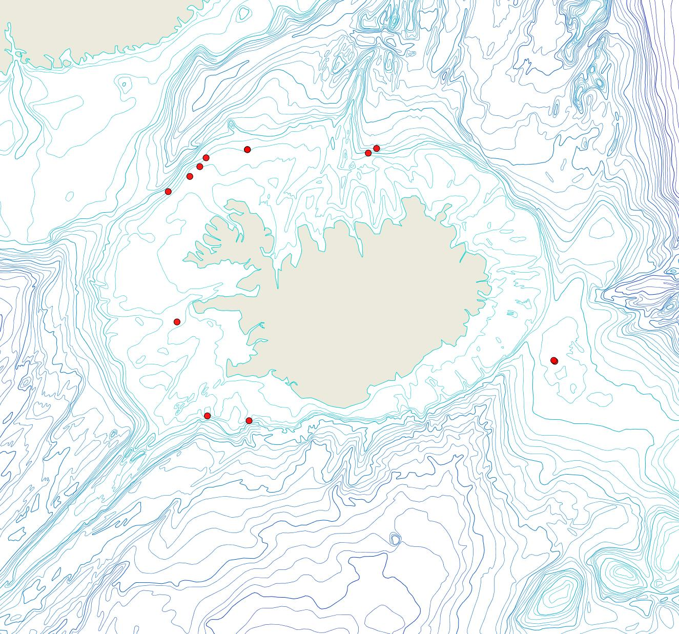 Útbreiðsla Notoplites harmeri(Bioice samples, red dots)