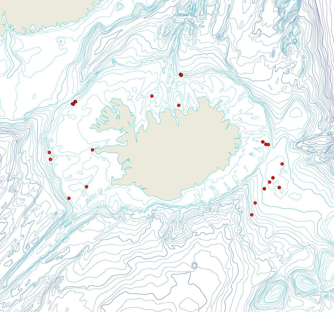 Útbreiðsla Oncousoecia dilatans(Bioice samples, red dots)