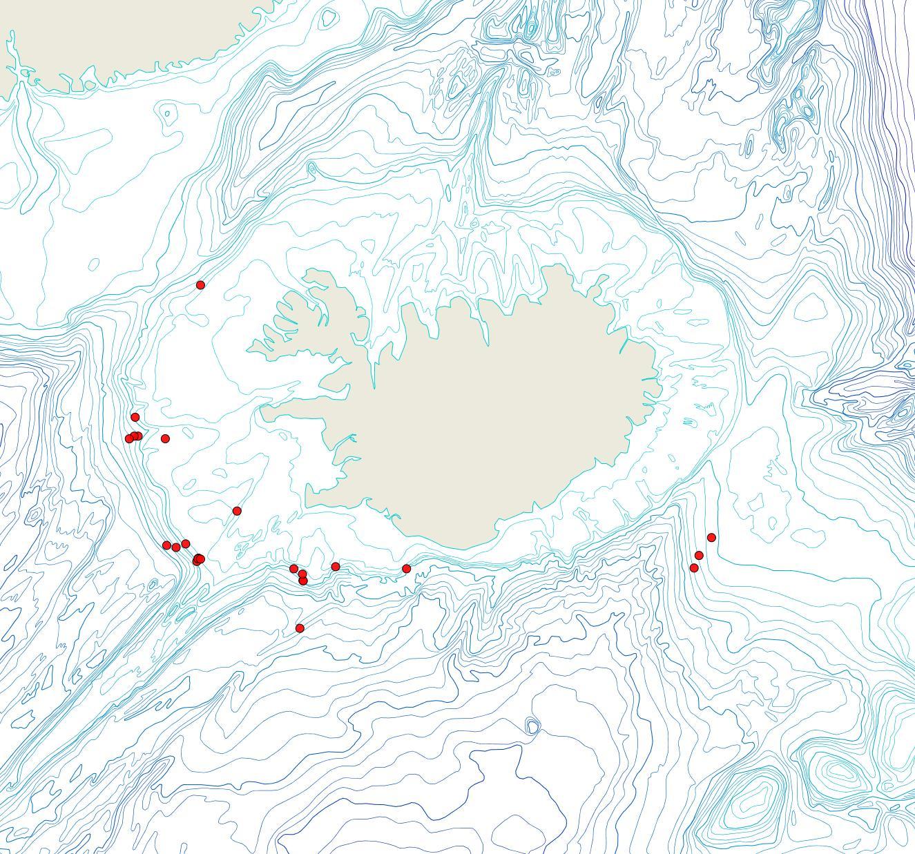 Útbreiðsla Palmiskenea faroensis(Bioice samples, red dots)