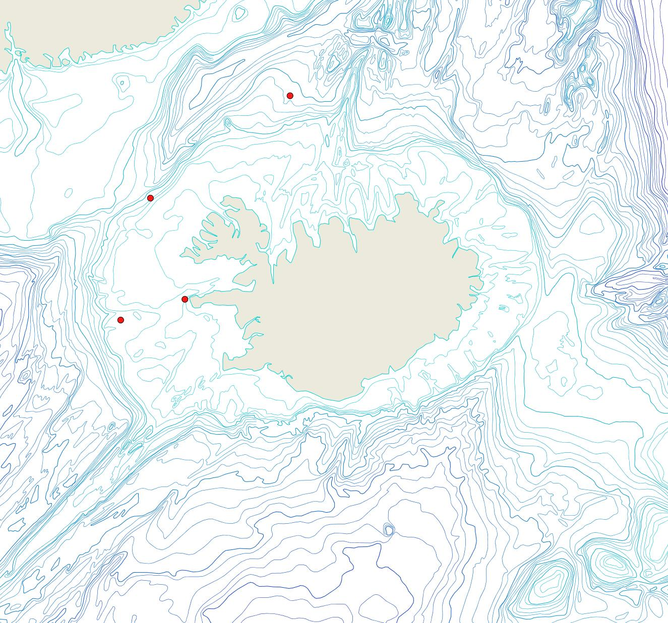 Útbreiðsla Palmiskenea sp.(Bioice samples, red dots)