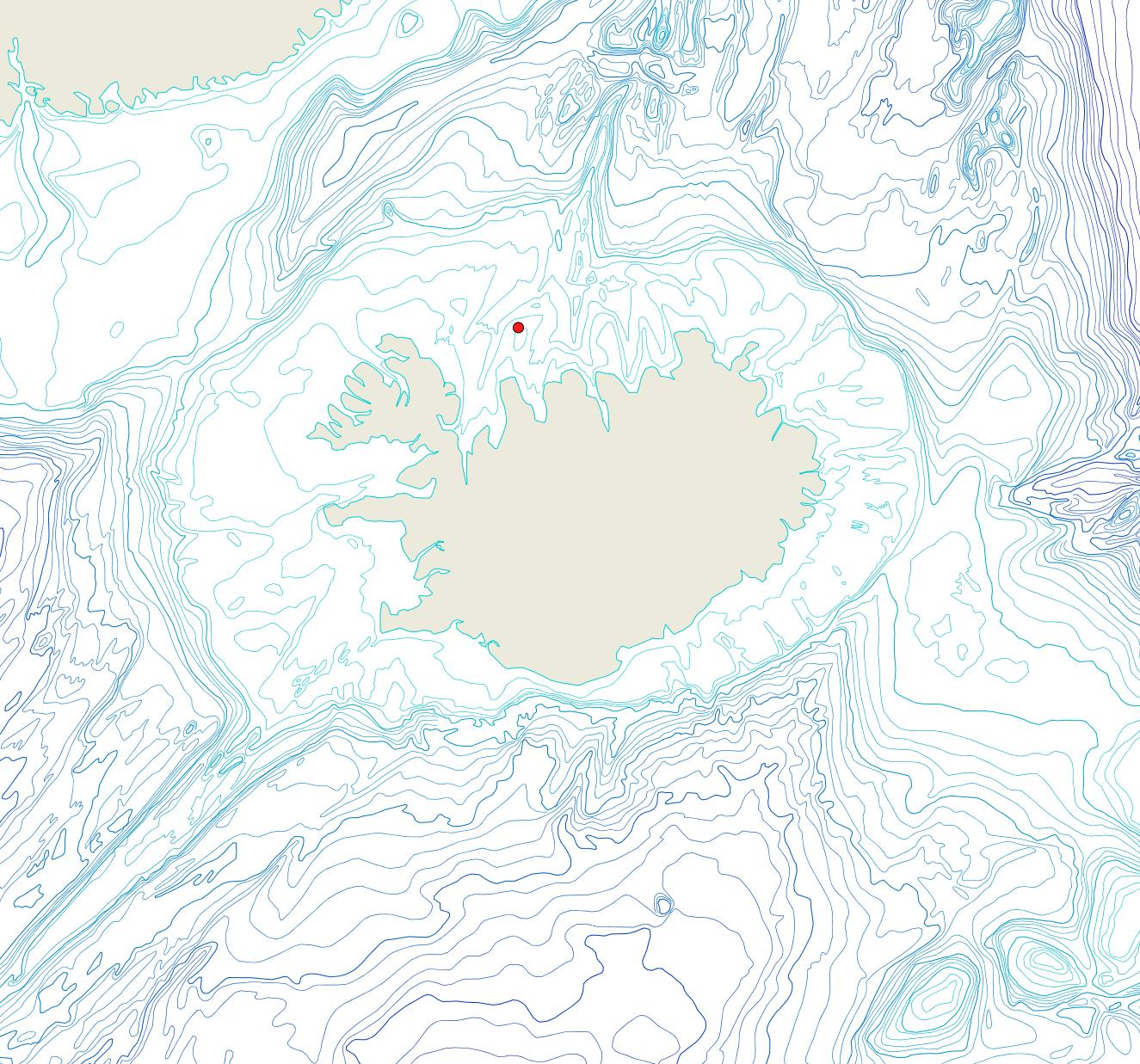 Útbreiðsla Porella belli(Bioice samples, red dots)