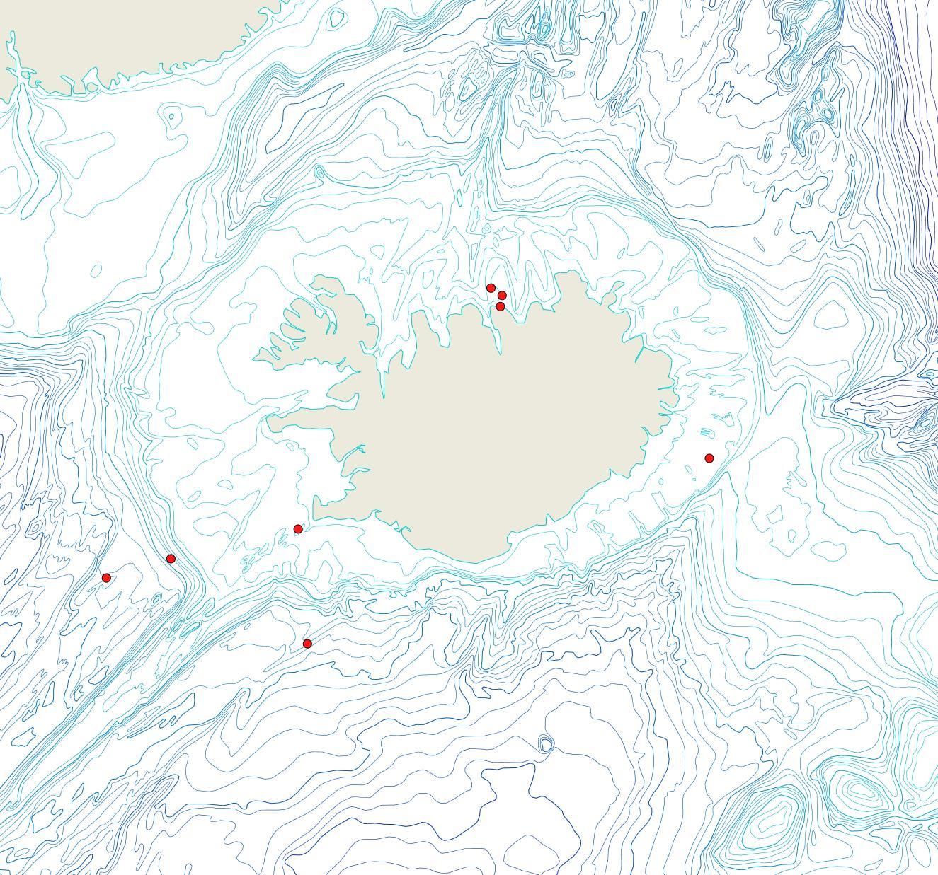 Útbreiðsla Porella cymosa(Bioice samples, red dots)