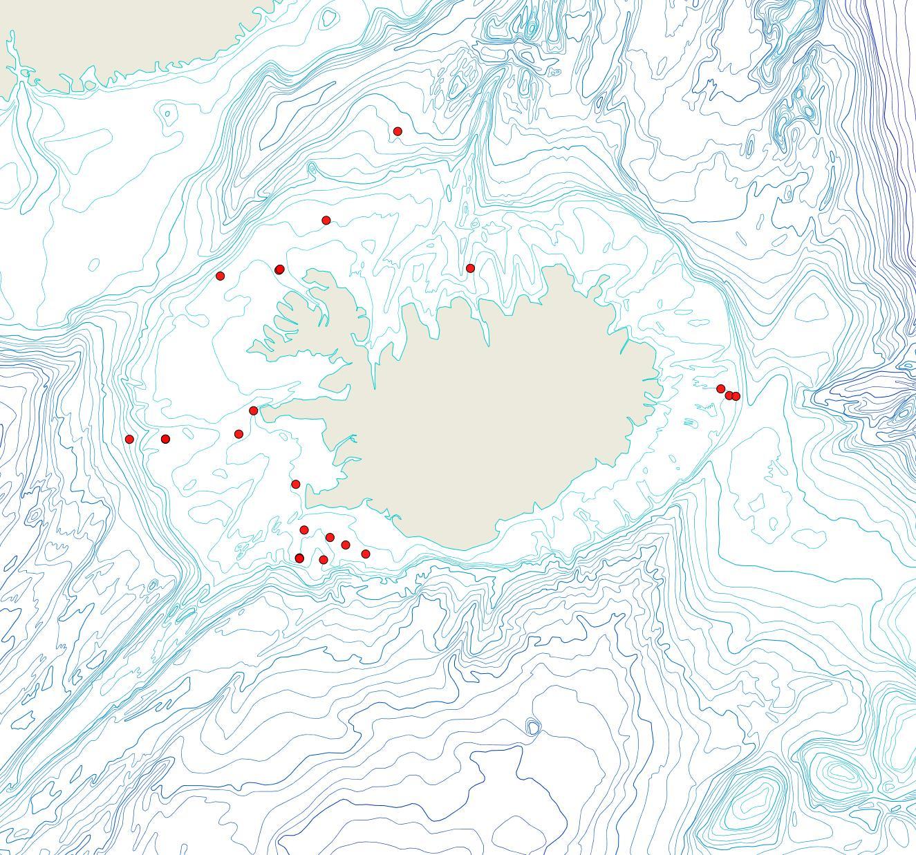 Útbreiðsla Porella patula(Bioice samples, red dots)
