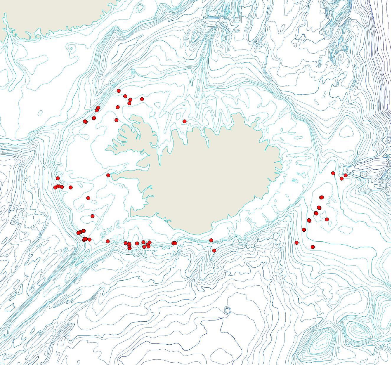 Útbreiðsla Terminoflustra barleei(Bioice samples, red dots)