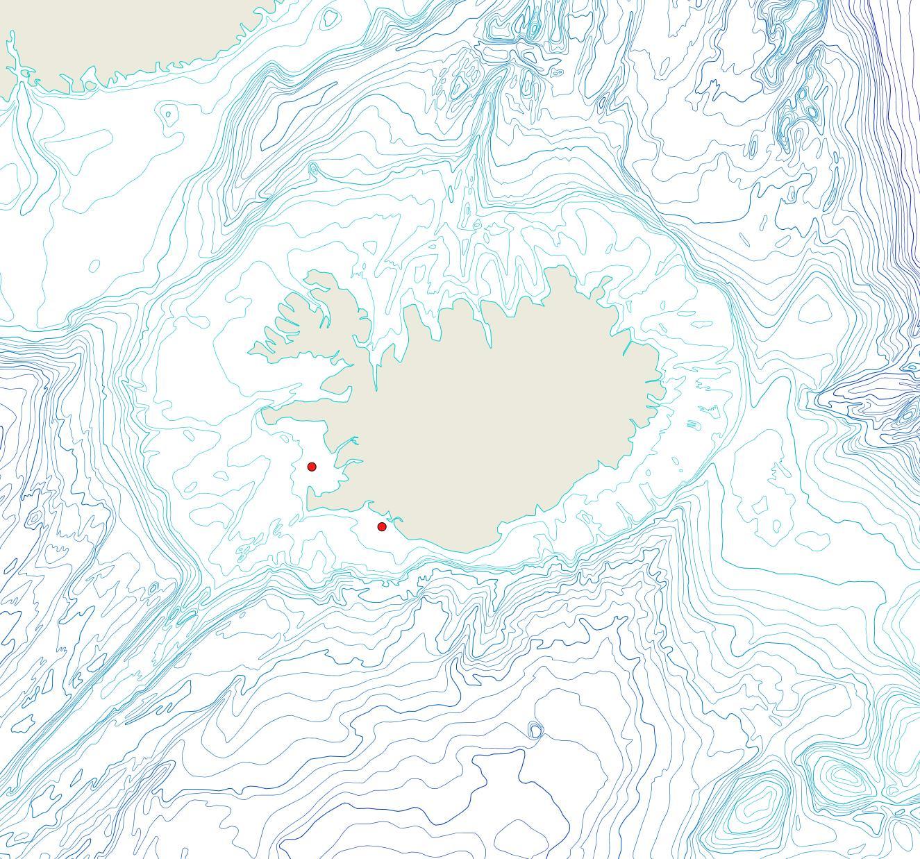 Útbreiðsla Tubulipora liliacea(Bioice samples, red dots)